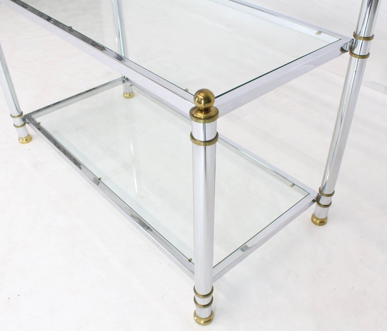 20th Century Chrome Brass Glass Mid-Century Modern Bakers Rack Étagère For Sale