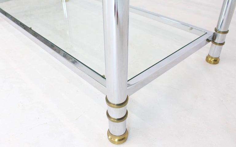 Chrome Brass Glass Mid-Century Modern Bakers Rack Étagère For Sale 1