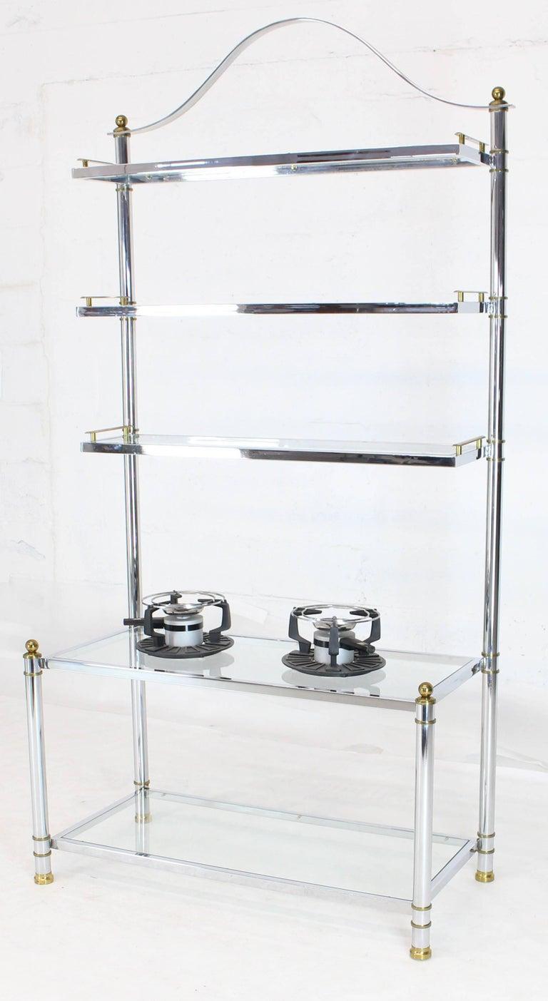 Chrome Brass Glass Mid-Century Modern Bakers Rack Étagère For Sale 2