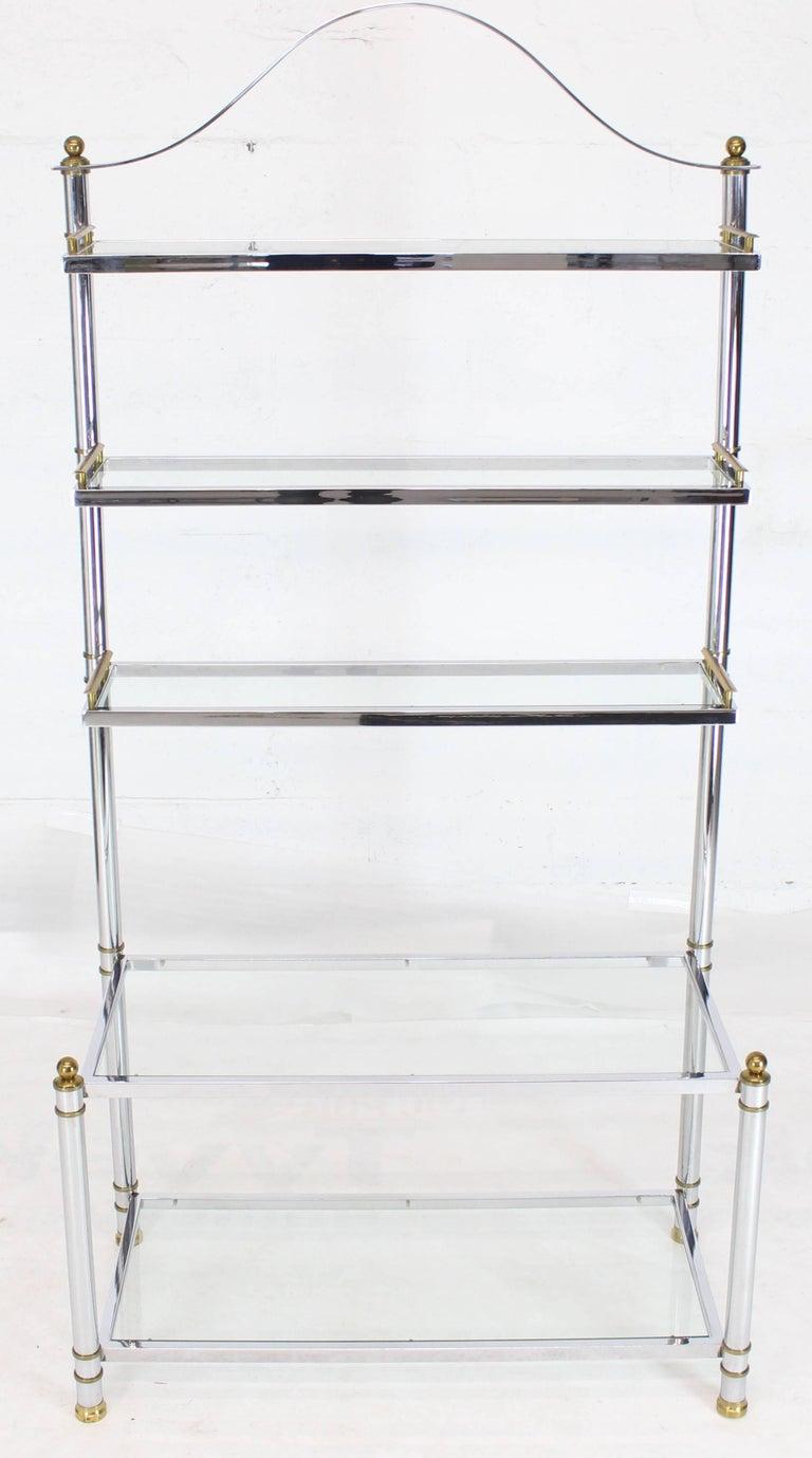Chrome Brass Glass Mid-Century Modern Bakers Rack Étagère For Sale 3