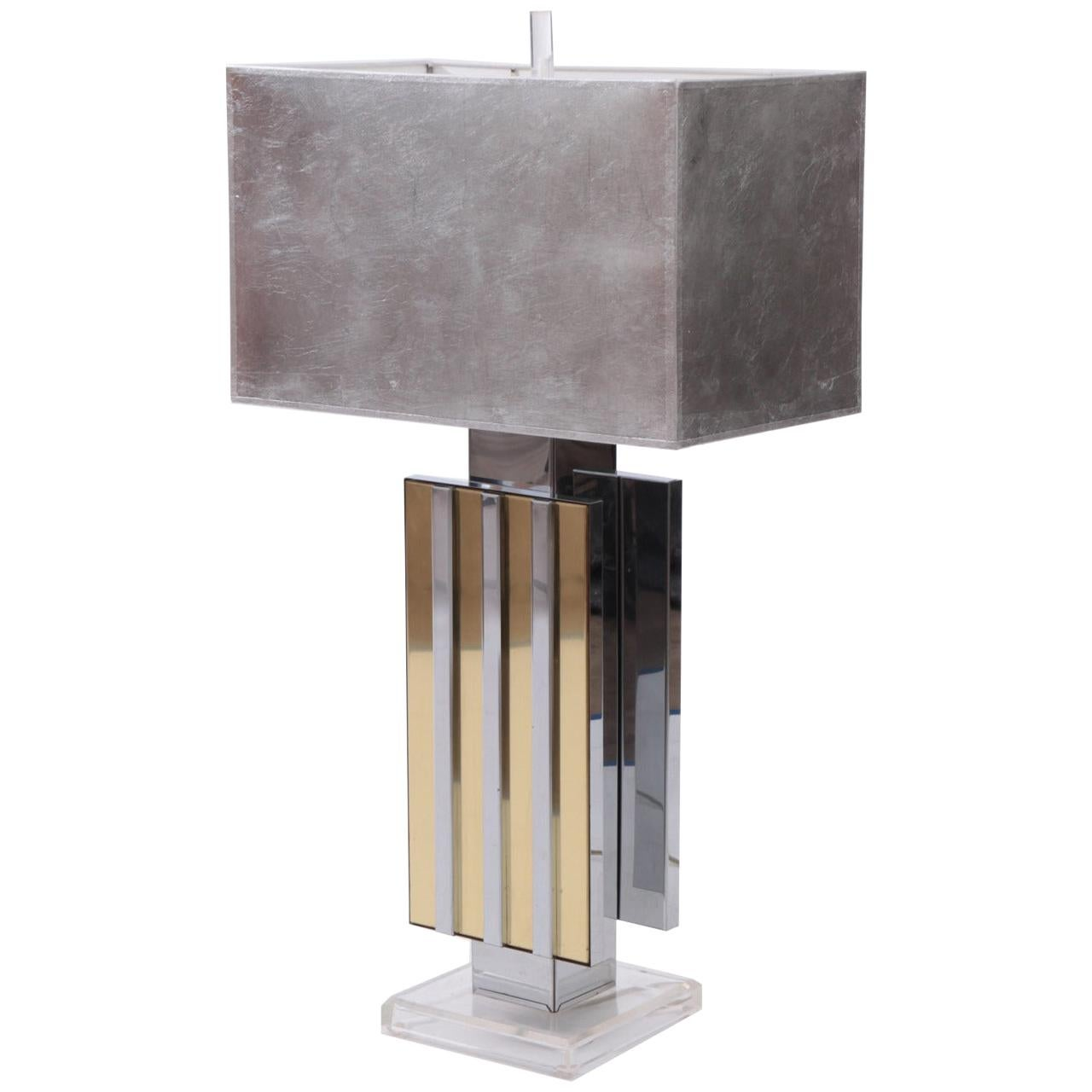 Chrome, Brass & Lucite 1970s Table Lamp