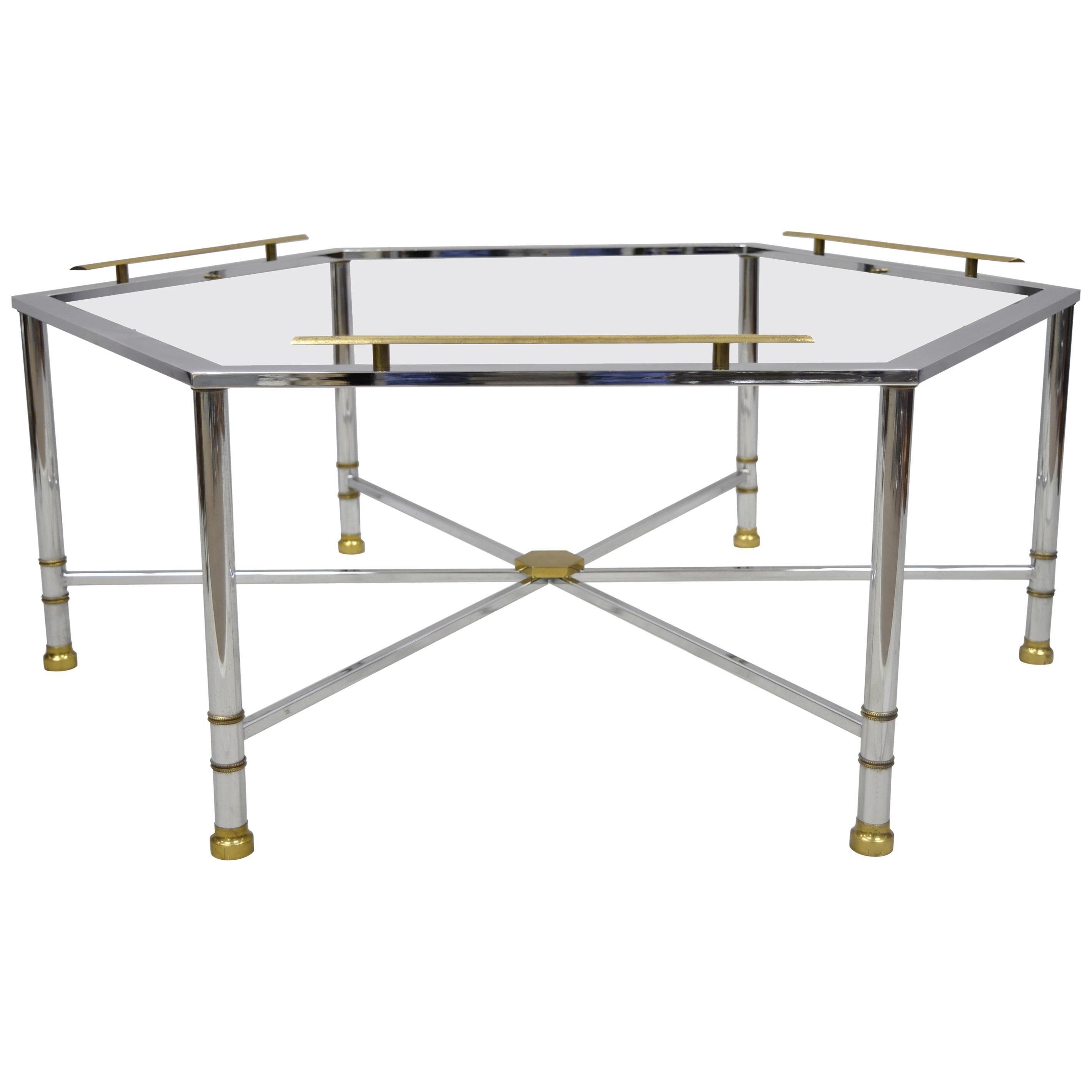 Chrome Brass Maison Jansen Style Hexagon Regency Style Directoire Coffee Table