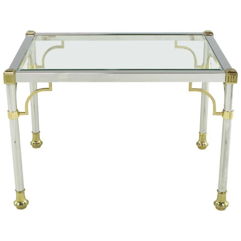 Chrome & Brass Regency Style End Table