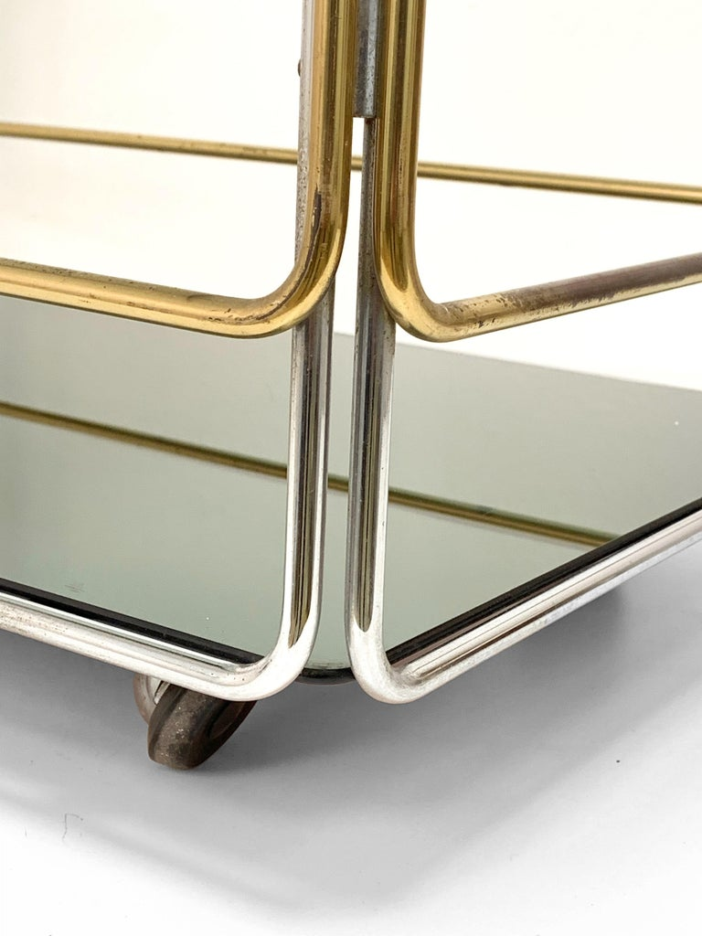 Chrome, Brass, Smoked Glass and Mirror Bar Cart/Serving Table, Italy, 1970s For Sale 5