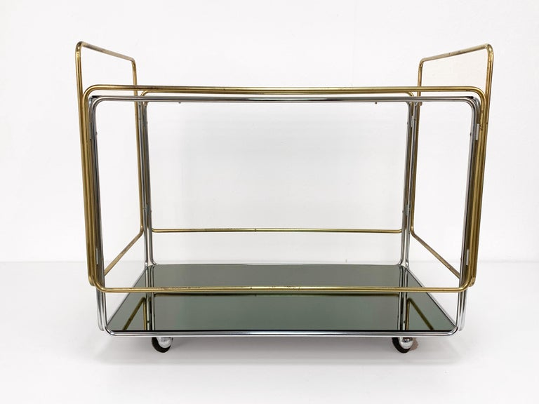 Chrome, Brass, Smoked Glass and Mirror Bar Cart/Serving Table, Italy, 1970s For Sale 6
