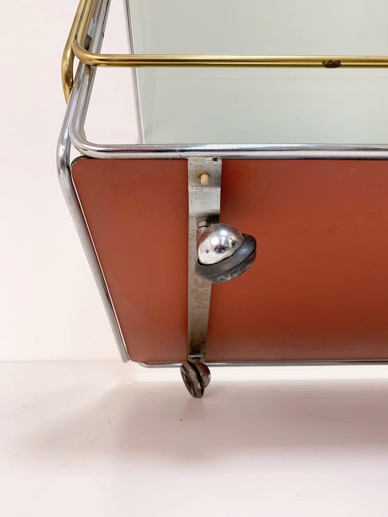 Chrome, Brass, Smoked Glass and Mirror Bar Cart/Serving Table, Italy, 1970s For Sale 7