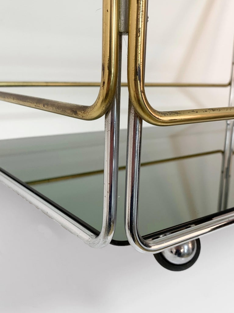 Chrome, Brass, Smoked Glass and Mirror Bar Cart/Serving Table, Italy, 1970s For Sale 8