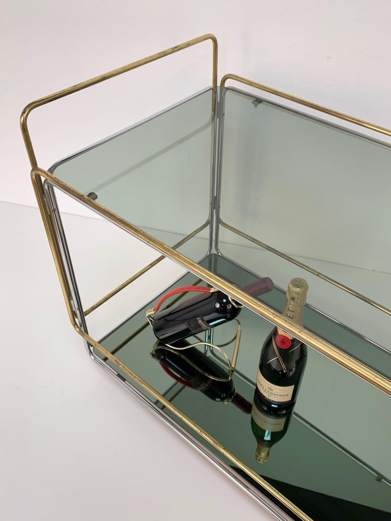 Chrome, Brass, Smoked Glass and Mirror Bar Cart/Serving Table, Italy, 1970s For Sale 9