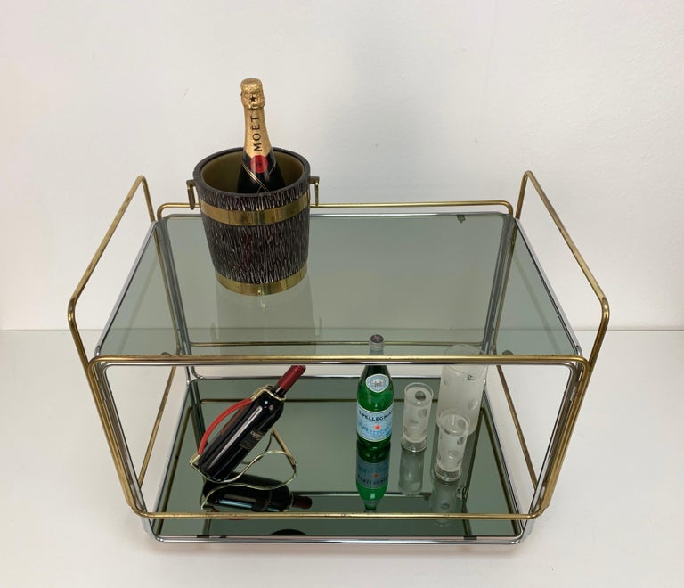 Chrome, Brass, Smoked Glass and Mirror Bar Cart/Serving Table, Italy, 1970s For Sale 11