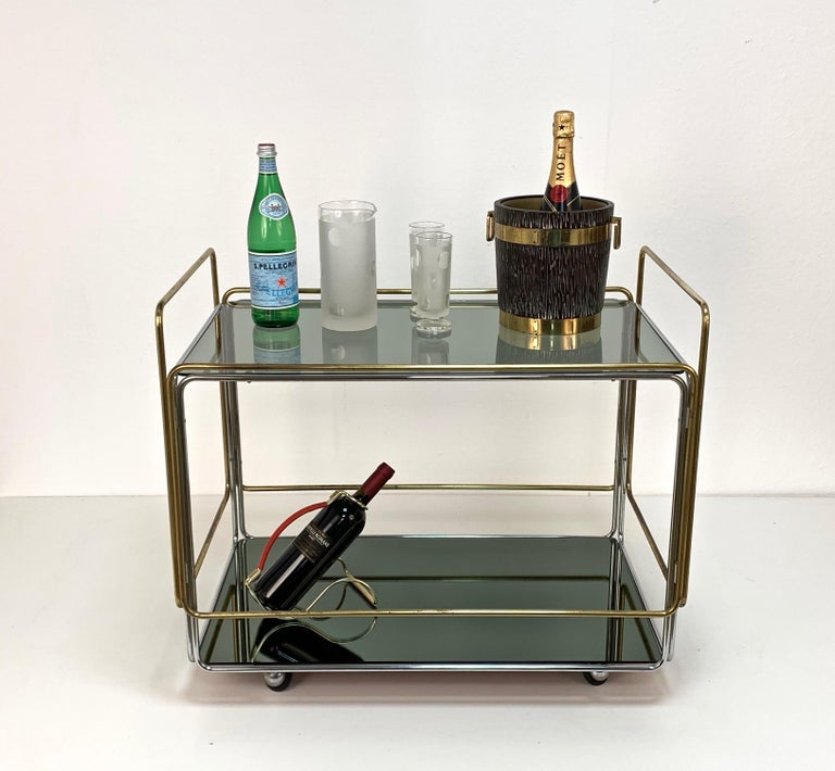 Chrome, Brass, Smoked Glass and Mirror Bar Cart/Serving Table, Italy, 1970s For Sale 12