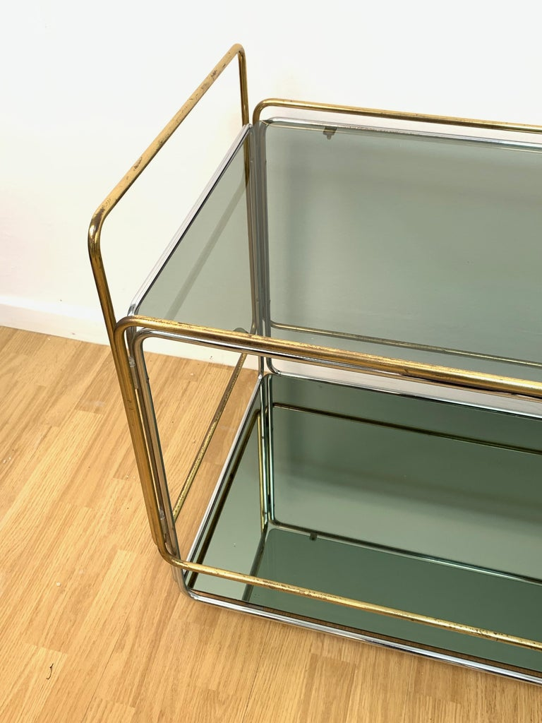 Chrome, Brass, Smoked Glass and Mirror Bar Cart/Serving Table, Italy, 1970s For Sale 13