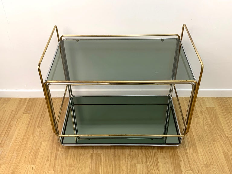 Mid-Century Modern Chrome, Brass, Smoked Glass and Mirror Bar Cart/Serving Table, Italy, 1970s For Sale