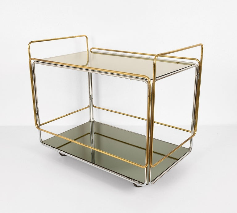 Italian Chrome, Brass, Smoked Glass and Mirror Bar Cart/Serving Table, Italy, 1970s For Sale