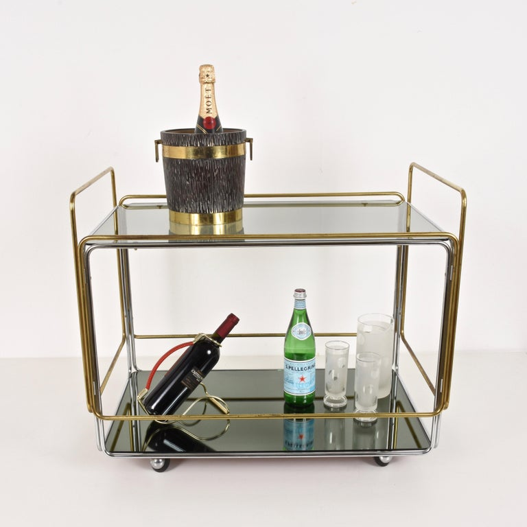 20th Century Chrome, Brass, Smoked Glass and Mirror Bar Cart/Serving Table, Italy, 1970s For Sale