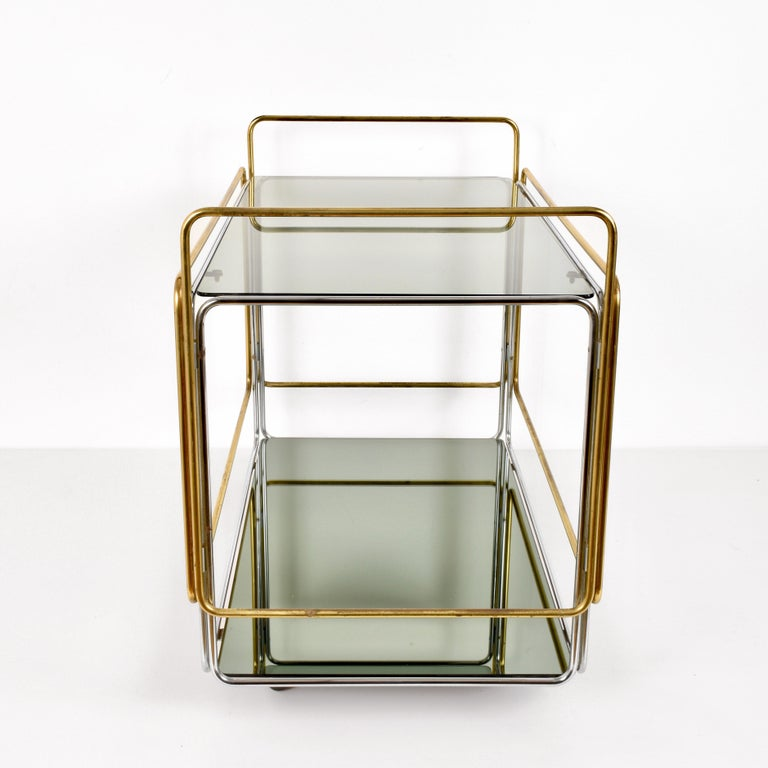 Chrome, Brass, Smoked Glass and Mirror Bar Cart/Serving Table, Italy, 1970s For Sale 1