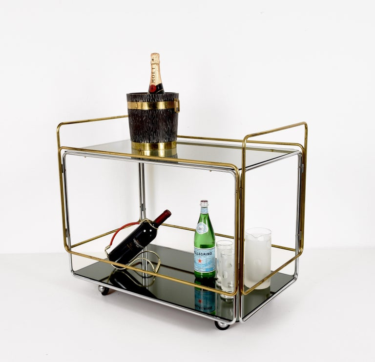 Chrome, Brass, Smoked Glass and Mirror Bar Cart/Serving Table, Italy, 1970s For Sale 2