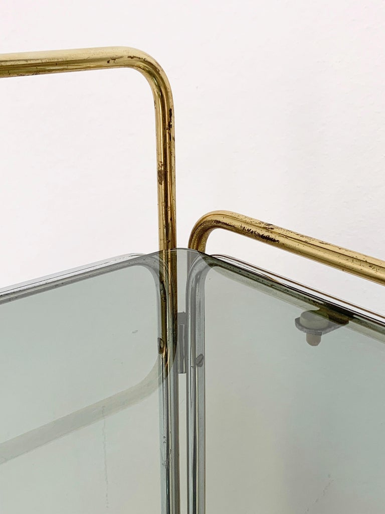 Chrome, Brass, Smoked Glass and Mirror Bar Cart/Serving Table, Italy, 1970s For Sale 3
