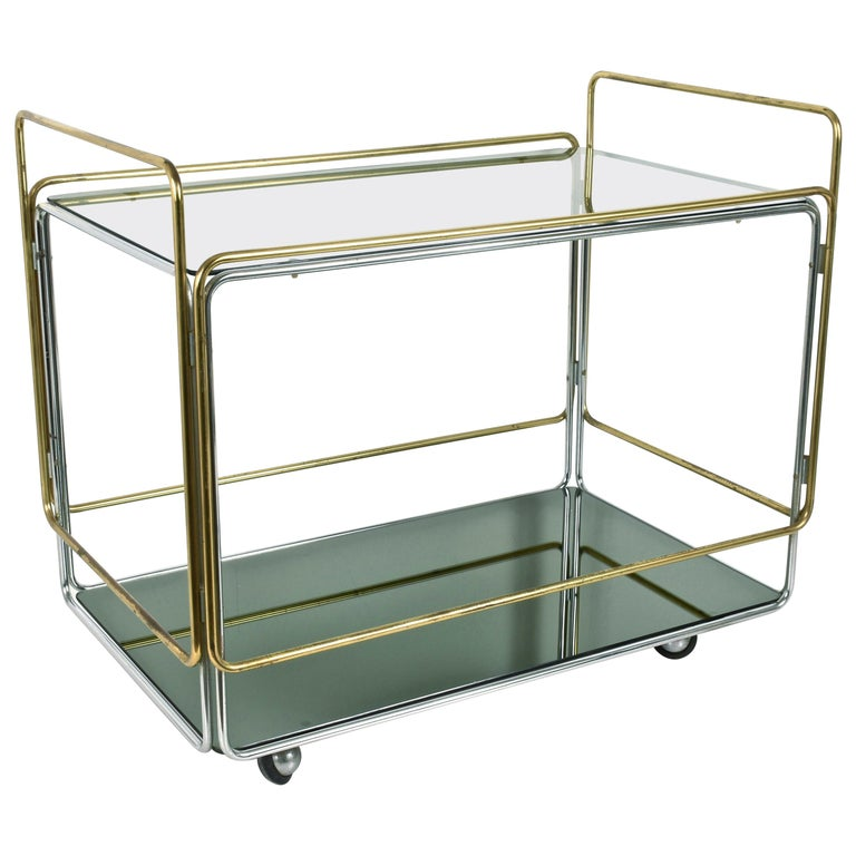 Chrome, Brass, Smoked Glass and Mirror Bar Cart/Serving Table, Italy, 1970s For Sale