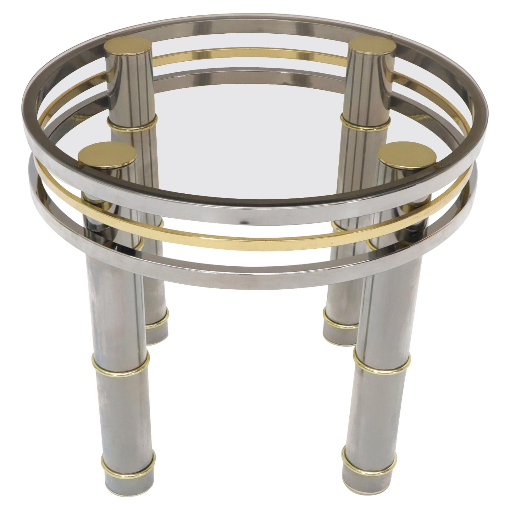 Chrome Brass Smoked Glass Round Side Table Stand