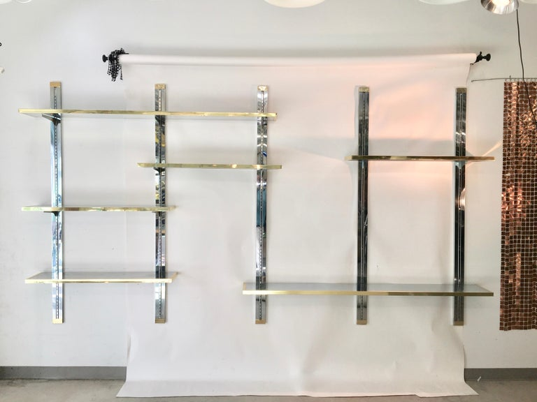 Chrome & Brass Wall Mounted Shelves For Sale 4