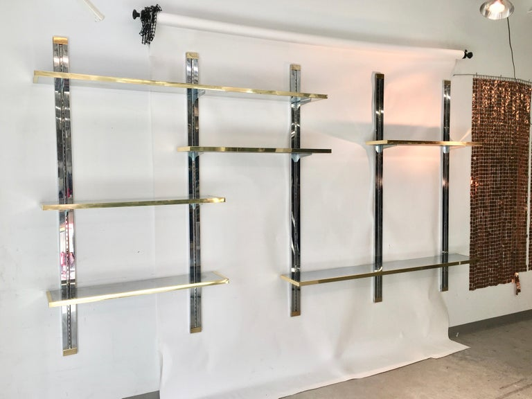 Chrome & Brass Wall Mounted Shelves For Sale 6