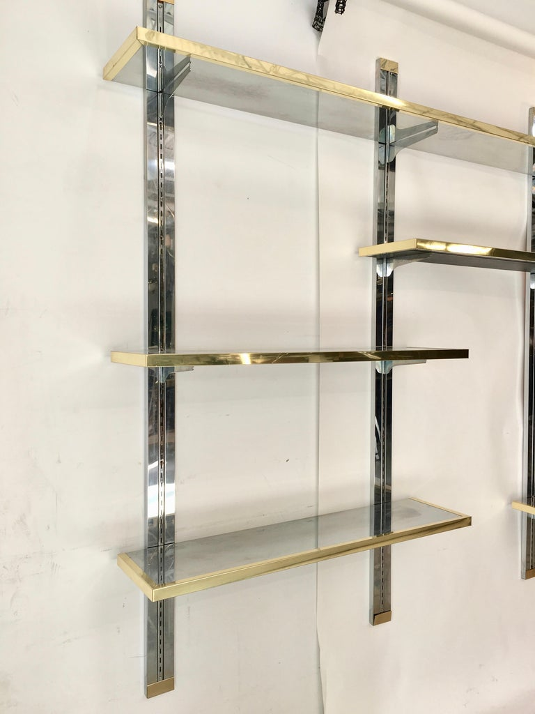 Chrome & Brass Wall Mounted Shelves For Sale 7