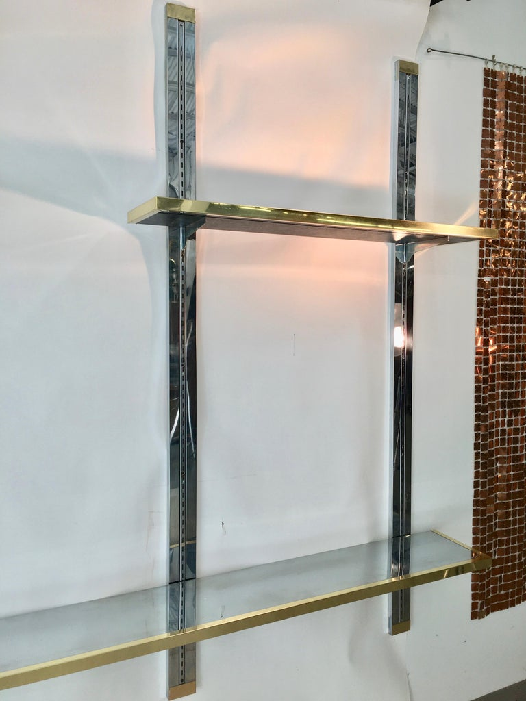 Chrome & Brass Wall Mounted Shelves For Sale 8