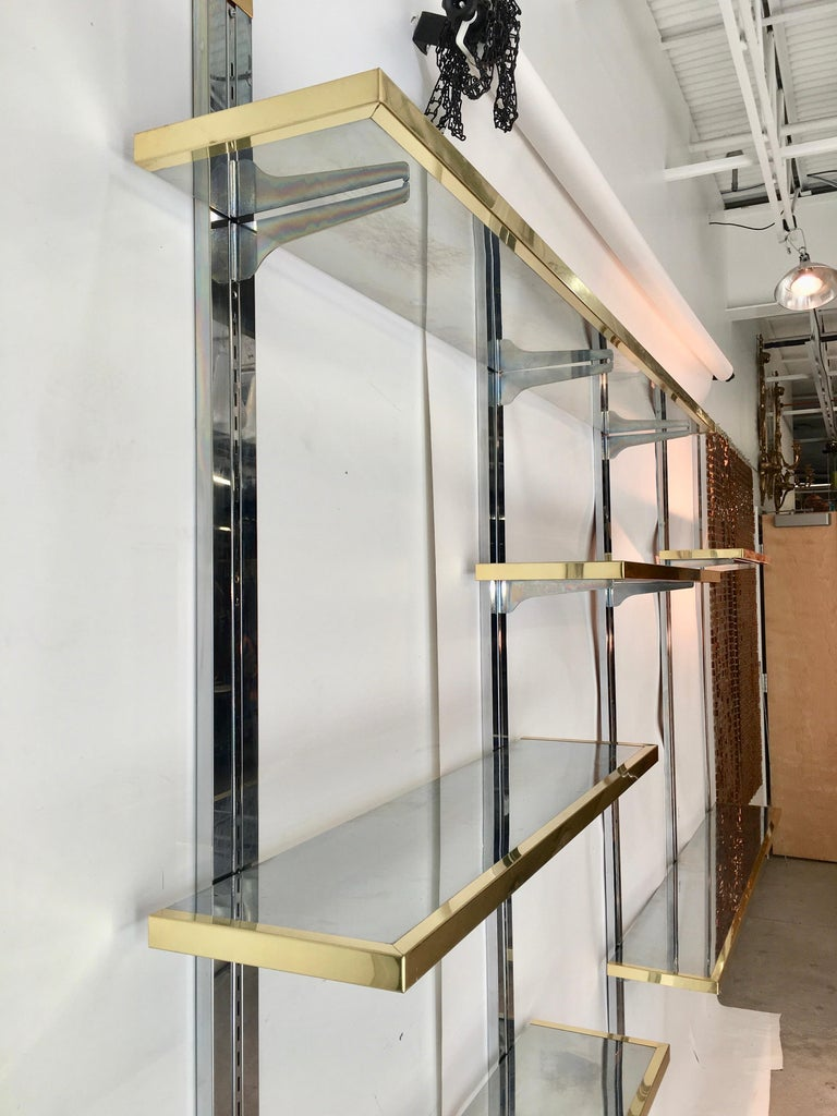 Chrome & Brass Wall Mounted Shelves For Sale 10