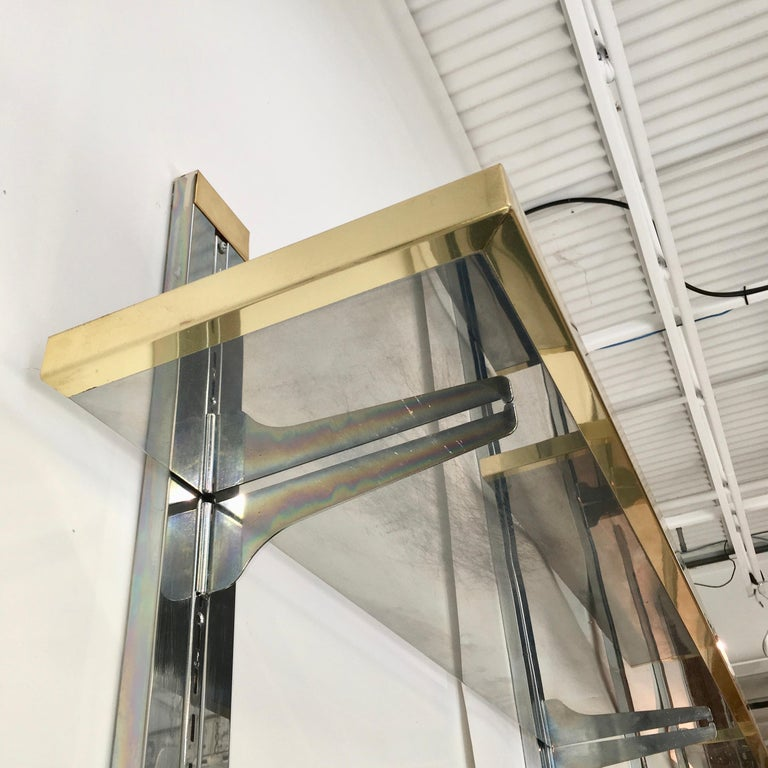 Chrome & Brass Wall Mounted Shelves For Sale 13