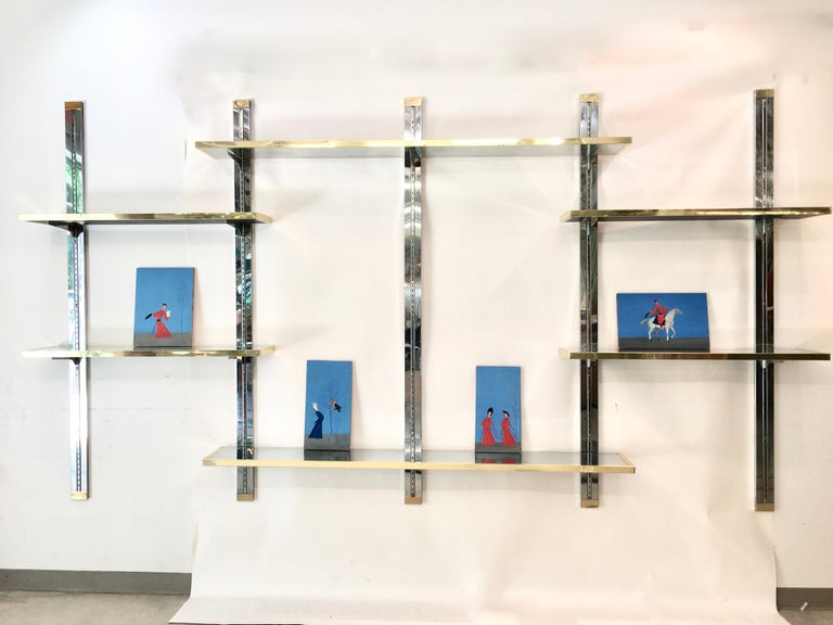 Chrome & Brass Wall Mounted Shelves In Good Condition For Sale In Hingham, MA