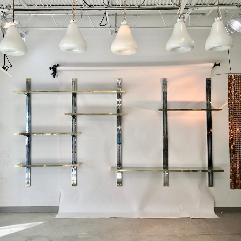 Late 20th Century Chrome & Brass Wall Mounted Shelves For Sale