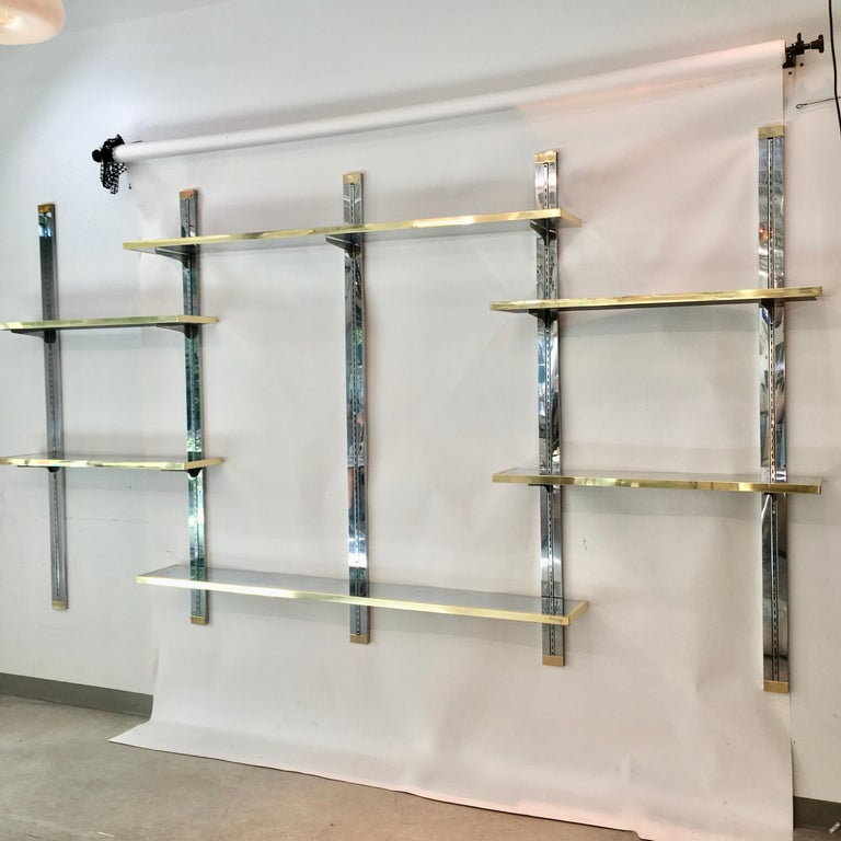 Chrome & Brass Wall Mounted Shelves For Sale 1