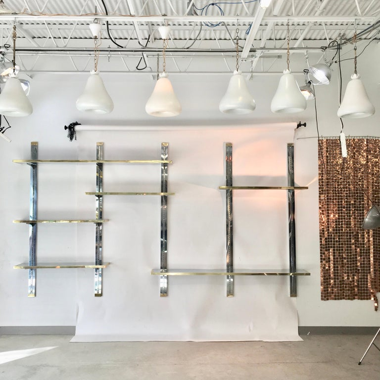 Chrome & Brass Wall Mounted Shelves For Sale 2