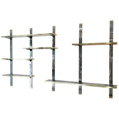 Chrome & Brass Wall Mounted Shelves