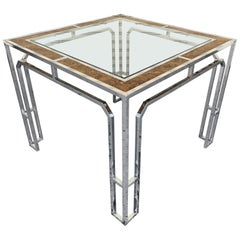 Chrome & Burl Wood Dining Table by Milo Baughman