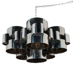 Chrome Chandelier by C. Jere, 1970s
