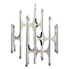 Chrome Chandelier by Gaetano Sciolari, Italy, 1970
