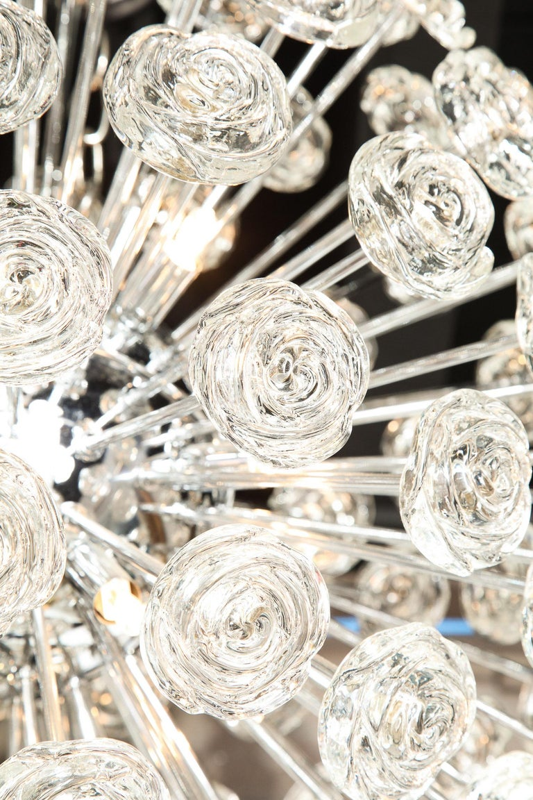 Chrome Chandelier with Glass Roses, Murano, Italy, in Stock, Midcentury Style For Sale 3