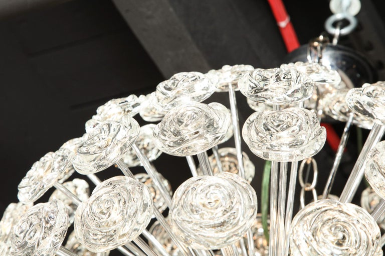 Chrome Chandelier with Glass Roses, Murano, Italy, in Stock, Midcentury Style For Sale 5