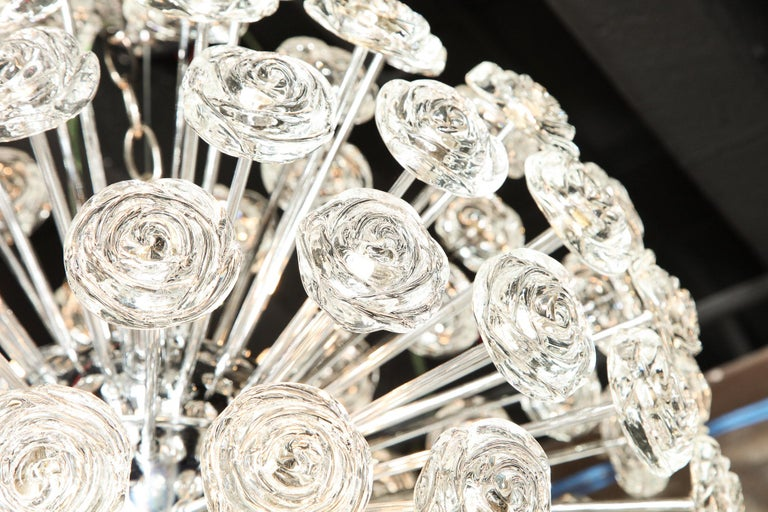 Chrome Chandelier with Glass Roses, Murano, Italy, in Stock, Midcentury Style For Sale 6