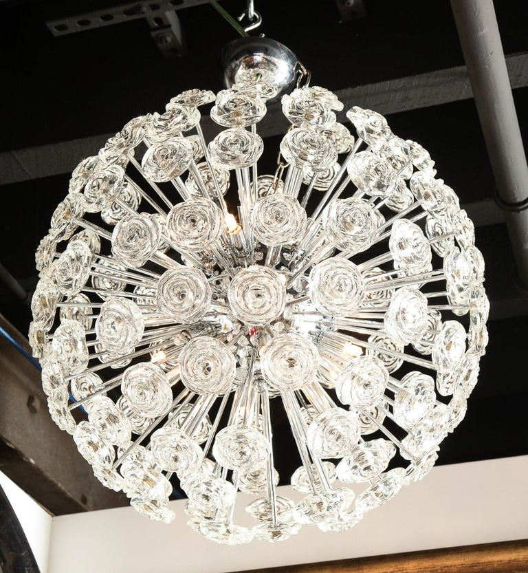 Decorative chrome, midcentury style chandelier with roses made of glass. Murano, Italy.