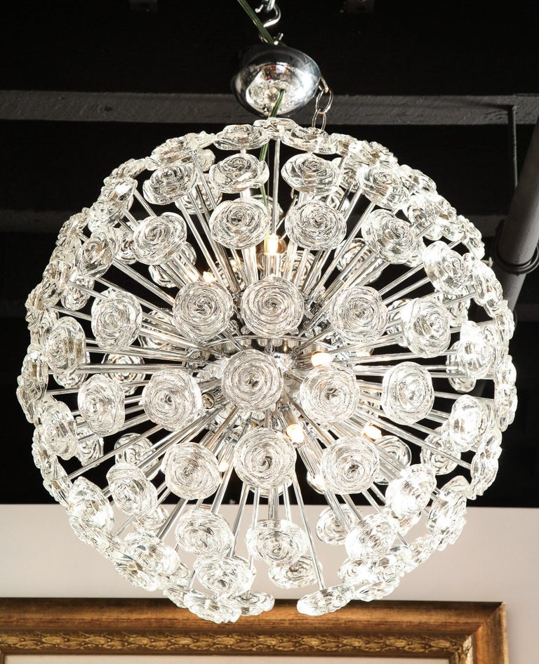 Italian Chrome Chandelier with Glass Roses, Murano, Italy, in Stock, Midcentury Style For Sale