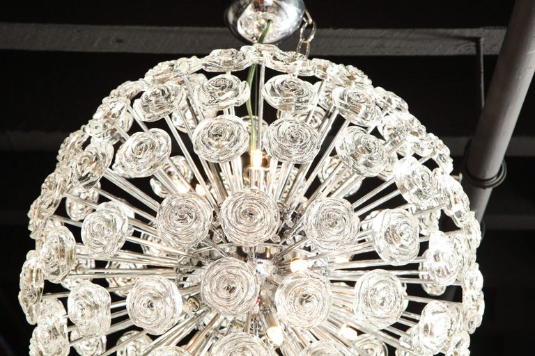 Hand-Crafted Chrome Chandelier with Glass Roses, Murano, Italy, in Stock, Midcentury Style For Sale