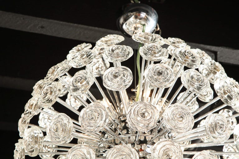 Chrome Chandelier with Glass Roses, Murano, Italy, in Stock, Midcentury Style In Good Condition For Sale In New York, NY