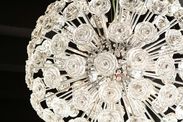 Contemporary Chrome Chandelier with Glass Roses, Murano, Italy, in Stock, Midcentury Style For Sale