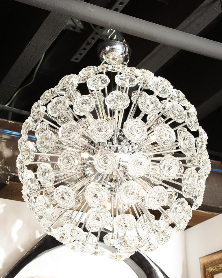 Chrome Chandelier with Glass Roses, Murano, Italy, in Stock, Midcentury Style For Sale 2
