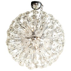 Chrome Chandelier with Glass Roses, Murano, Italy, in Stock
