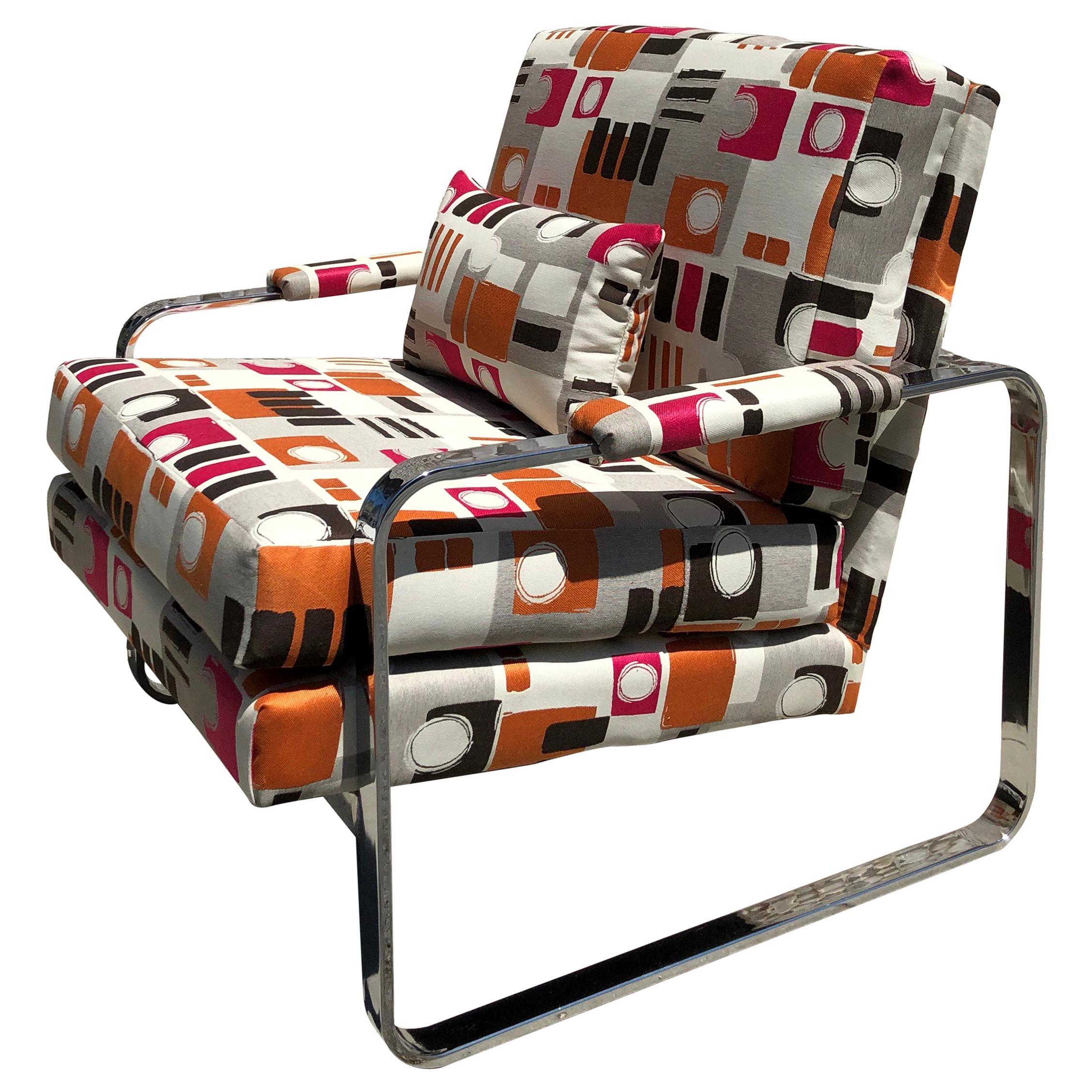 Chrome Club Chair Vintage 1970s in Milo Baughman Style