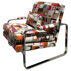 Chrome Club Chair Vintage 1970s in Milo Baughman Style