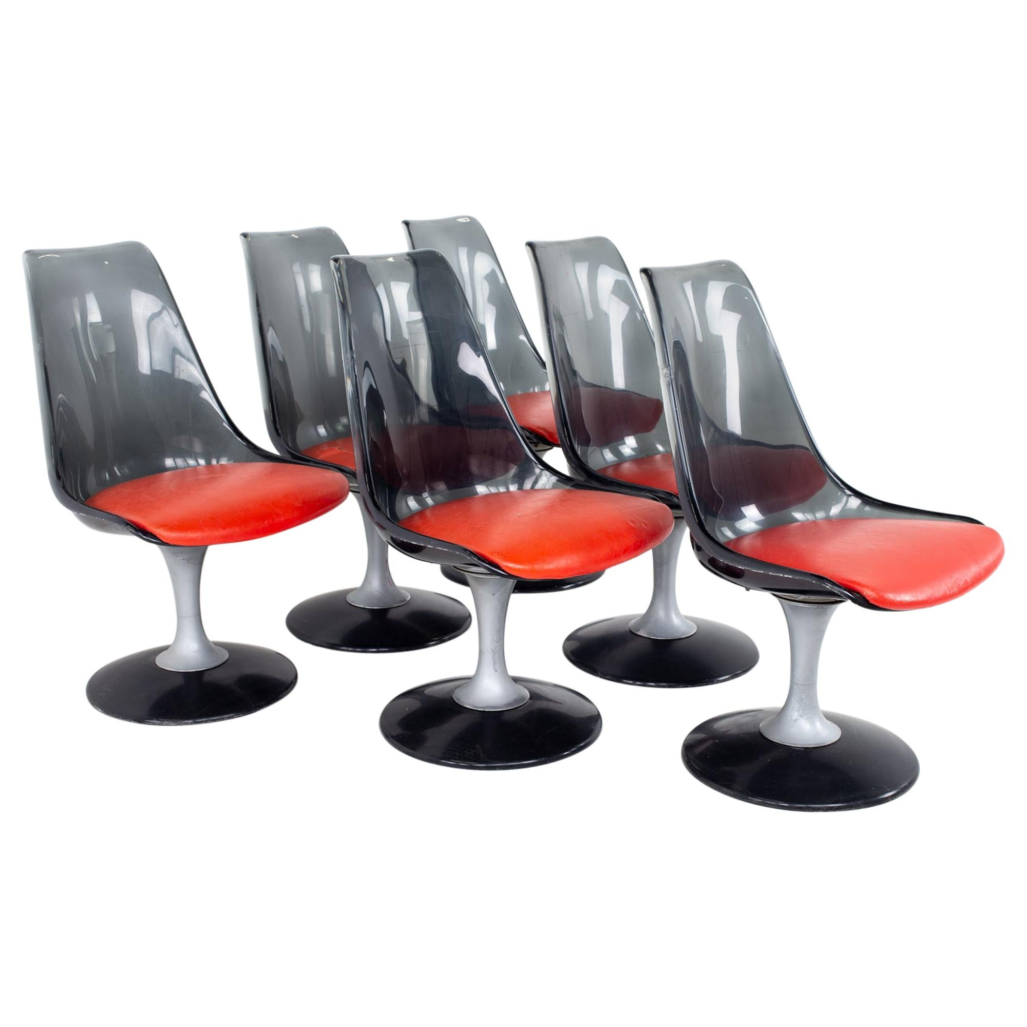 Chrome Craft Mid Century Smoked Lucite Dining Chairs, Set of 6